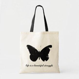 Tote negro de la mariposa bolsa tela barata