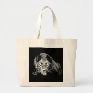 Tote negro y blanco del jumbo de los gatos grandes bolsa tela grande