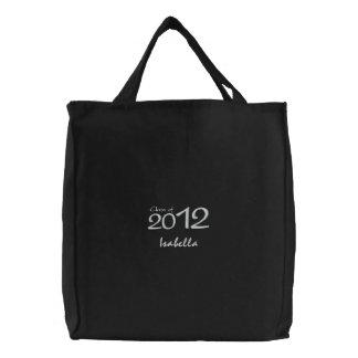 Tote negro y blanco personalizado de la graduación bolsa