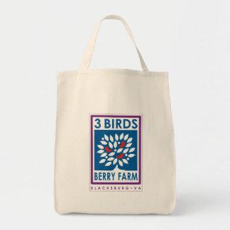 Tote orgánico de la granja de la baya de 3 pájaros bolsas
