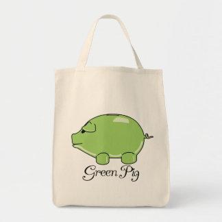 Tote orgánico del cerdo verde bolsa tela para la compra