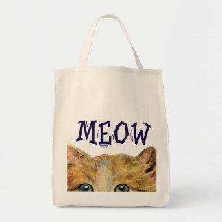 Tote orgánico del gato del maullido bolsas lienzo