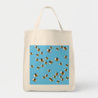 Tote orgánico del ultramarinos de la abeja ocupada bolsa tela para la compra