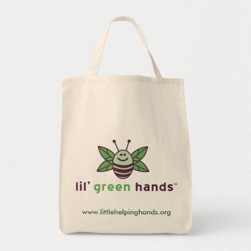 Tote orgánico del ultramarinos de las manos verdes bolsa de mano