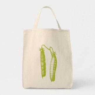 Tote orgánico del ultramarinos de los guisantes bolsa tela para la compra