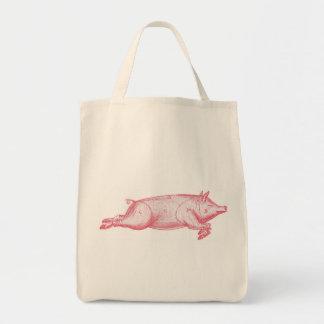 Tote orgánico del ultramarinos del cerdo rosado bolsa tela para la compra