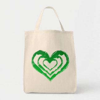 Tote orgánico del ultramarinos verde del corazón bolsa