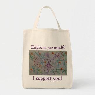 Tote para cualquier persona que apoya arte y la ex bolsa tela para la compra