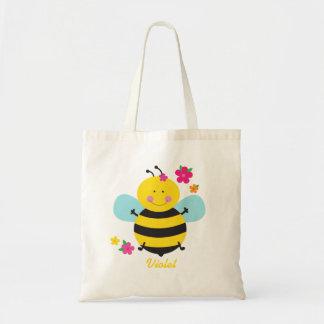 Tote personalizado abeja linda del presupuesto bolsa tela barata