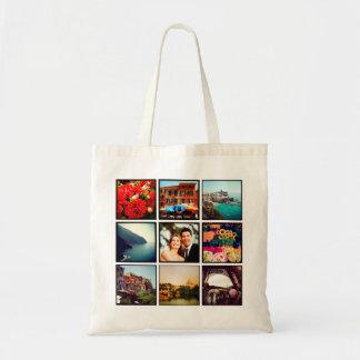 Tote personalizado collage de encargo de la foto d bolsas lienzo