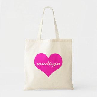 Tote personalizado corazón rosado del presupuesto bolsa tela barata