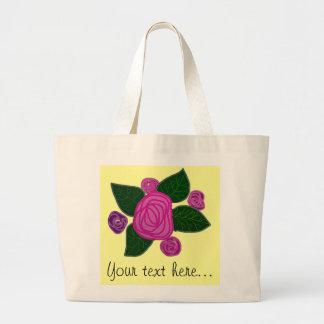 Tote personalizado del jumbo del diseño del rosa bolsa tela grande