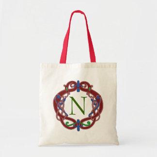Tote personalizado diseño céltico de las iniciales bolsas