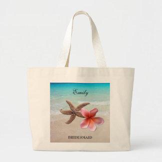 Tote personalizado fiesta nupcial tropical del bolsa tela grande