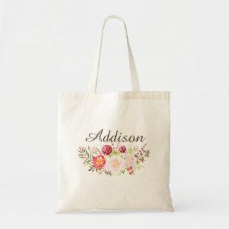 Tote personalizado floral de la lona de los chicas bolsa tela barata
