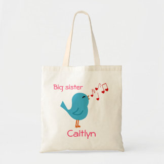 Tote personalizado pájaro azul de la hermana grand bolsa tela barata