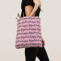 Tote pink and black bag with designers name