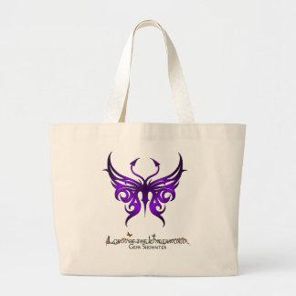 Tote púrpura de la mariposa bolsa tela grande