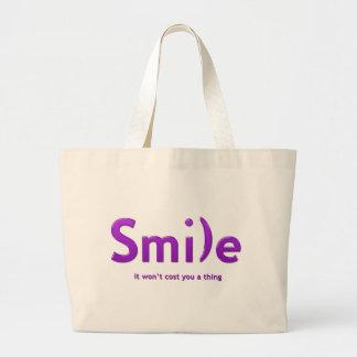 Tote púrpura del texto de la sonrisa ASCII Bolsa Tela Grande