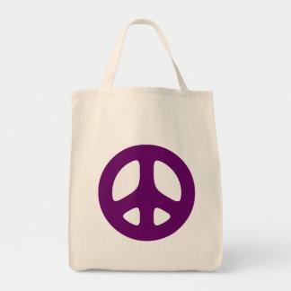 Tote púrpura gigante del signo de la paz bolsa tela para la compra