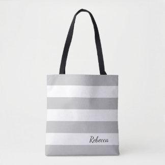 Tote rayado gris y blanco personalizado bolsa de tela