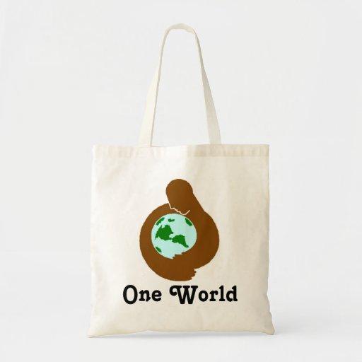 Tote respetuoso del medio ambiente--Un mundo Bolsa Tela Barata