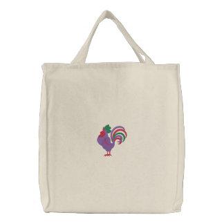 Tote retro adorable del gallo bolsa de lienzo