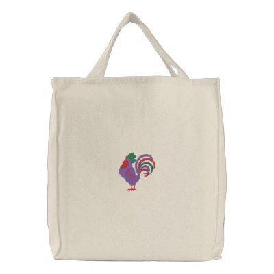 Tote retro adorable del gallo bolsas de mano bordadas