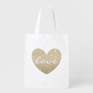 Tote reutilizable - amor del corazón bolsas de la compra