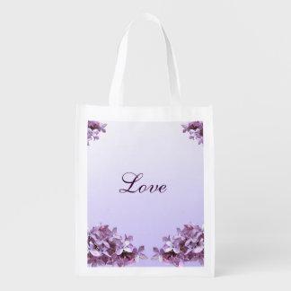 Tote reutilizable del amor del boda de la lila bolsas reutilizables