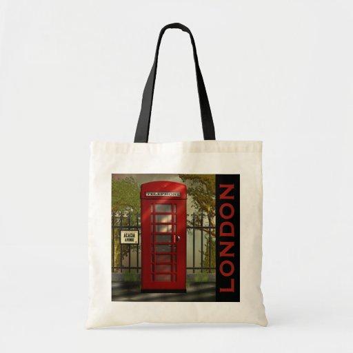 Tote rojo británico de Londres de la cabina de tel Bolsas De Mano