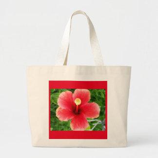 Tote rojo del hibisco bolsa de tela grande