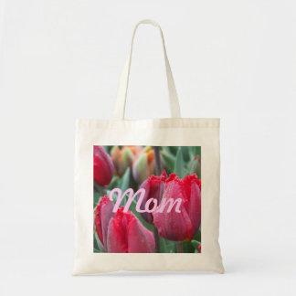 Tote rojo del tulipán de la mamá bolsa tela barata