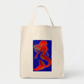 tote rojo del ultramarinos de la sirena bolsa tela para la compra