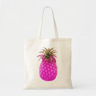 Tote rosado con sabor a fruta de la piña bolsa tela barata