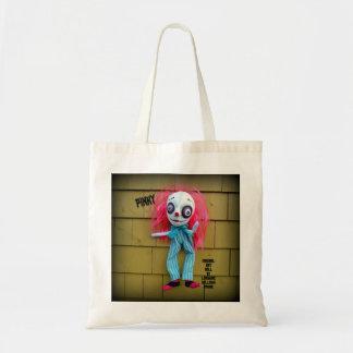 Tote rosado de la muñeca del arte del payaso bolsa tela barata