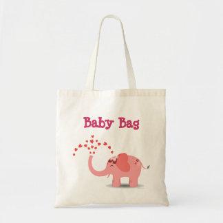 Tote rosado del bebé del elefante bolsas de mano