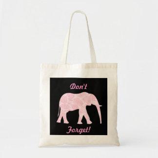 ¡Tote rosado del elefante de Paisley - no olvide! Bolsa De Mano