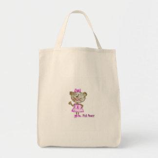 Tote rosado del mono del poder bolsa tela para la compra