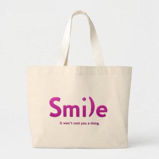 Tote rosado del texto de la sonrisa ASCII Bolsa Tela Grande
