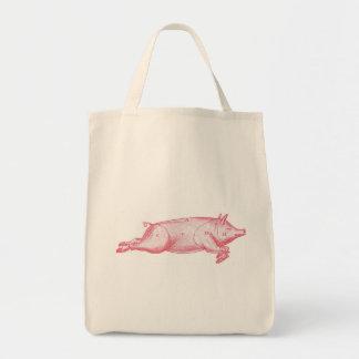 Tote rosado del ultramarinos del cerdo bolsa tela para la compra