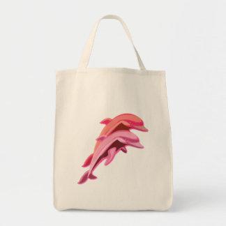 Tote rosado del ultramarinos del diseño del delfín bolsa tela para la compra