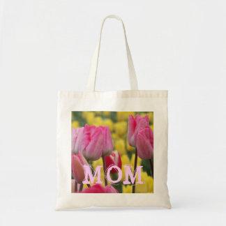 Tote rosado y amarillo de la MAMÁ del tulipán Bolsa Tela Barata