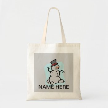 Tote Snowman Holiday Personalize by creativeconceptss at Zazzle