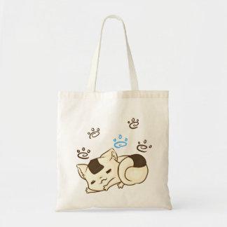 Tote soñoliento del gato de Onigiri Bolsa De Mano