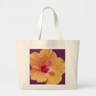 Tote tropical de la flor del hibisco bolsa tela grande