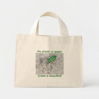 Tote verde del escarabajo de tigre mini bolsa lienzo