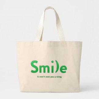 Tote verde del texto de la sonrisa ASCII Bolsa Tela Grande