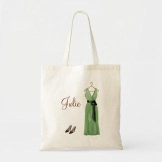 Tote verde personalizado de la dama de honor bolsa