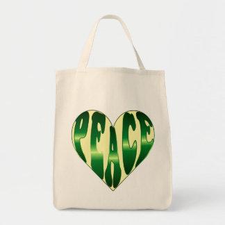 Tote verde y amarillo del corazón pacífico bolsa lienzo